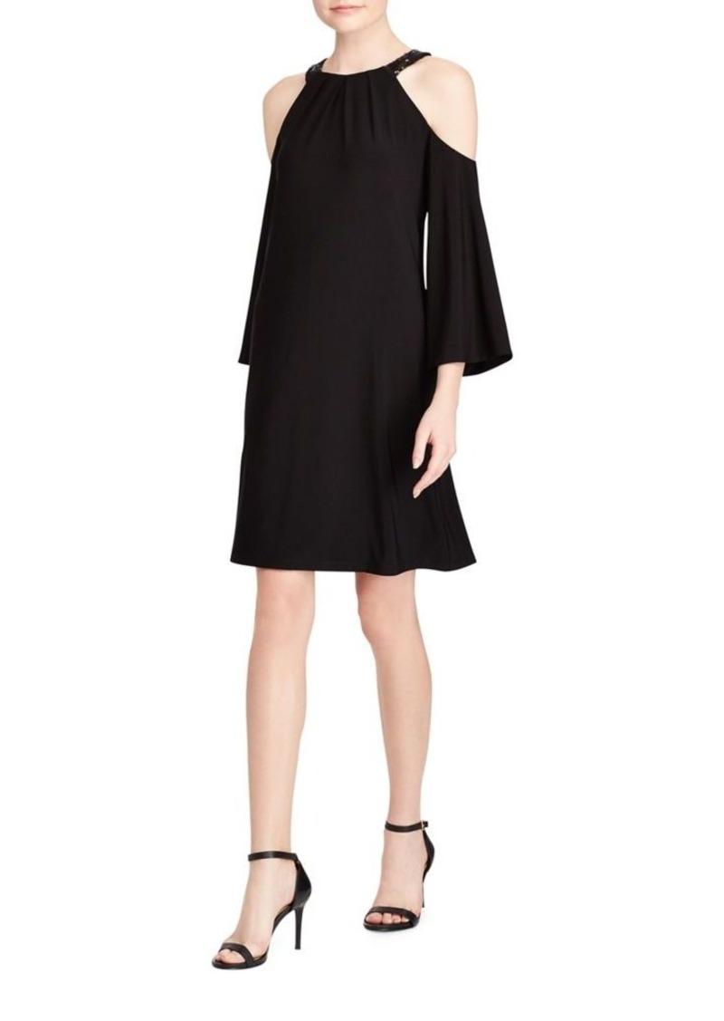 Lauren Ralph Lauren Sequin Trim Cold-Shoulder Bell-Sleeve Dress