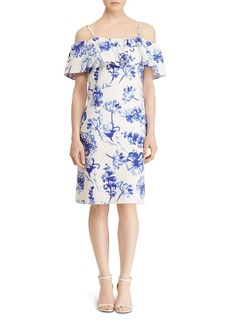 Lauren Ralph Lauren Cold-Shoulder Floral Crepe Dress