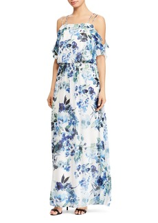 Lauren Ralph Lauren Cold-Shoulder Floral Georgette Gown