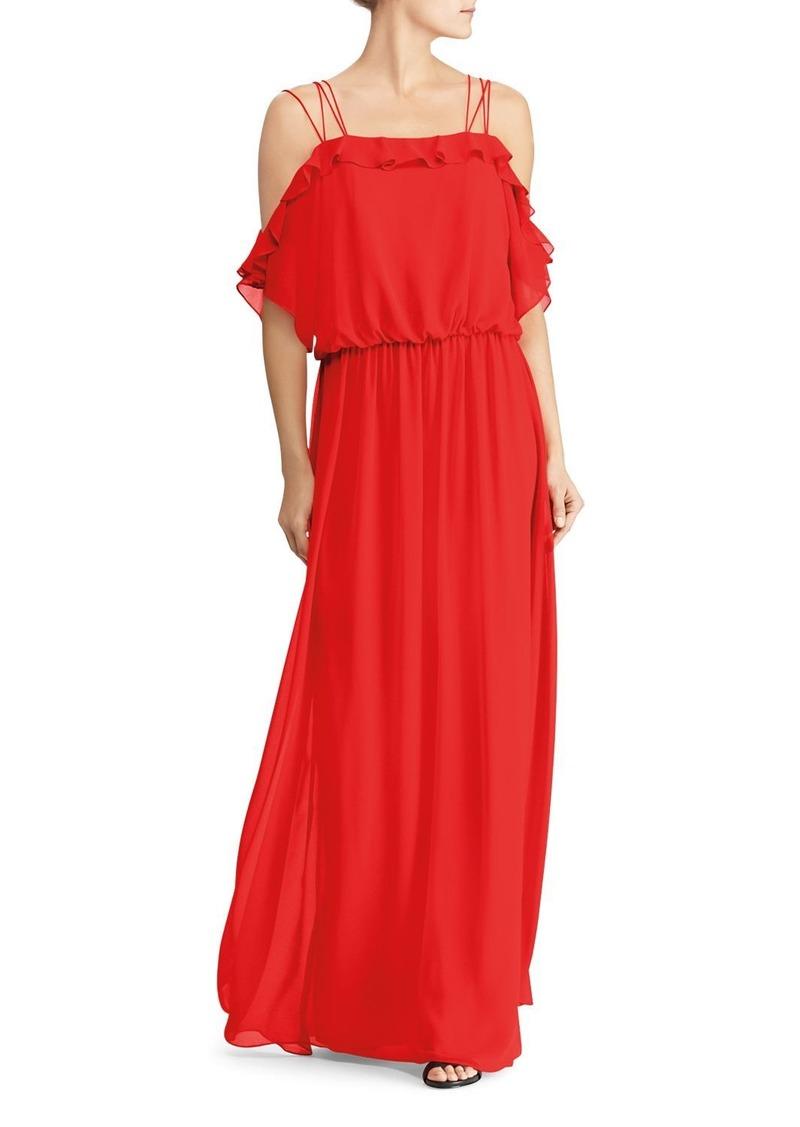 Lauren Ralph Lauren Cold-Shoulder Georgette Gown