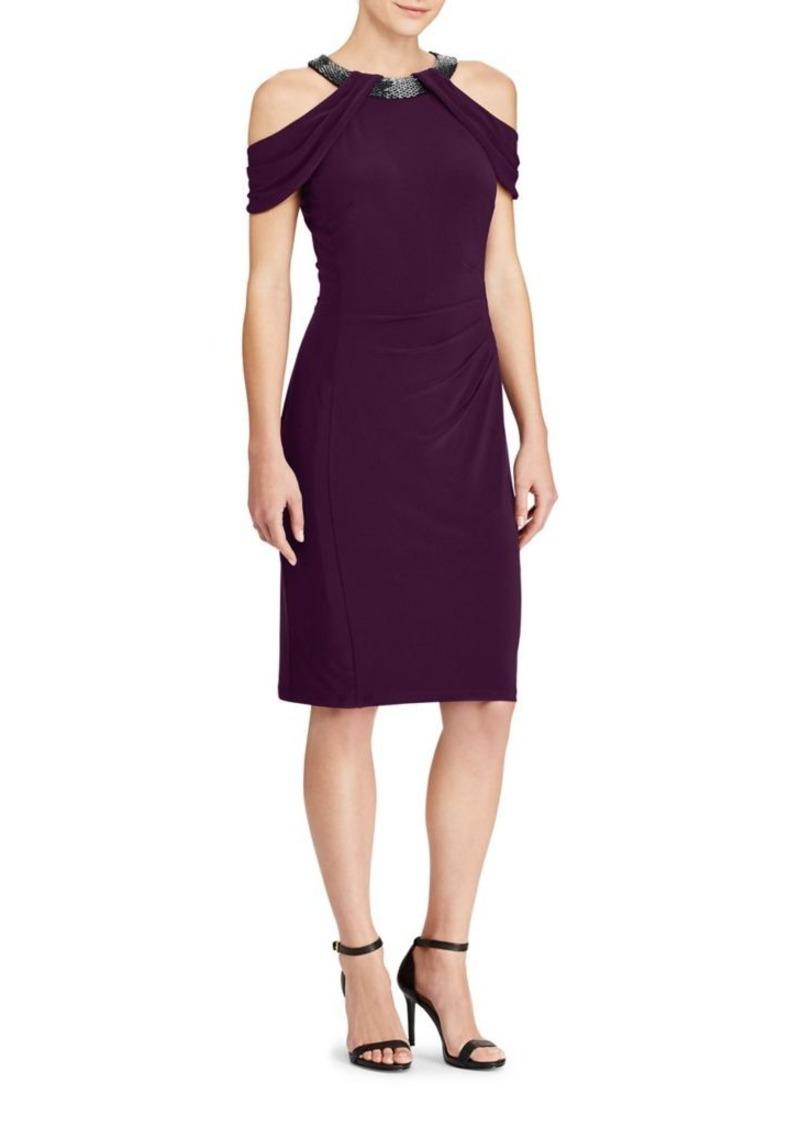 Lauren Ralph Beaded Cold Shoulder Jersey Dress