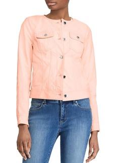 Lauren Ralph Lauren Collarless Leather Jacket