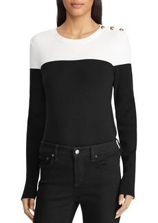Lauren Ralph Lauren Color Block Button Shoulder Sweater