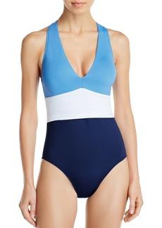 Lauren Ralph Lauren Color-Block Twist-Back One Piece Swimsuit