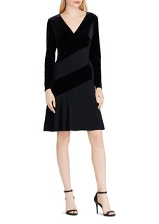 Lauren Ralph Lauren Color-Block Velvet Dress