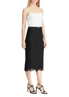 Lauren Ralph Lauren Color-Blocked Lace Dress