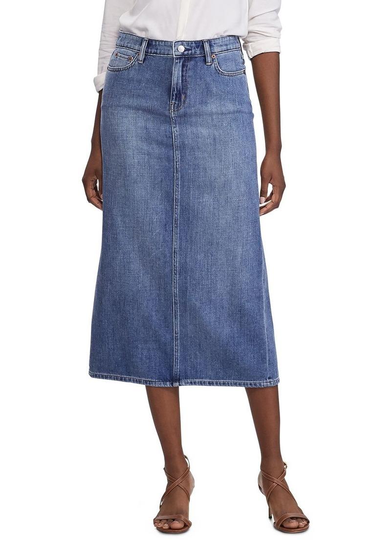 Lauren Ralph Lauren Contrast-Stitched Faded Denim Midi Skirt