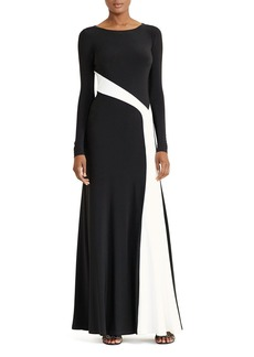 Lauren Ralph Lauren Contrast-Stripe Gown
