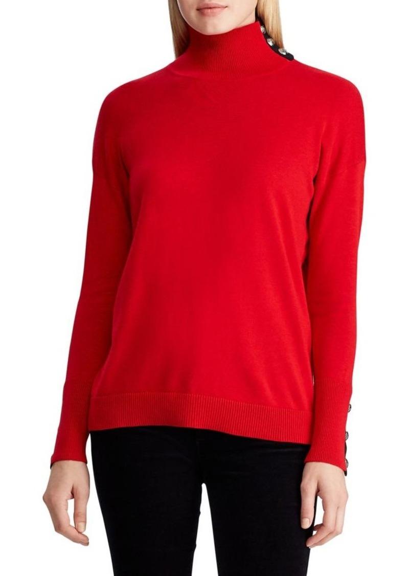 Lauren Ralph Lauren Contrast-Tab Turtleneck Cotton-Blend Sweater