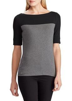 Lauren Ralph Lauren Contrasting-Panel Cotton-Blend T-Shirt
