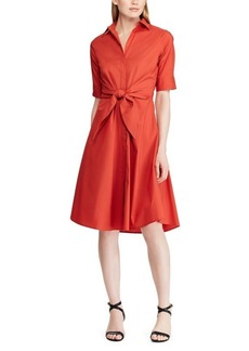 Lauren Ralph Lauren Cotton Blend Fit-&-Flare Button-Front Dress