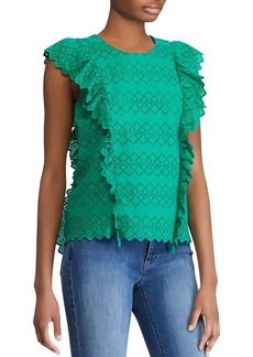 Lauren Ralph Lauren Cotton Eyelet Ruffle-Trim Top