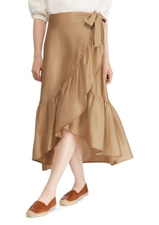 Lauren Ralph Lauren Cotton Sateen Ruffle Skirt