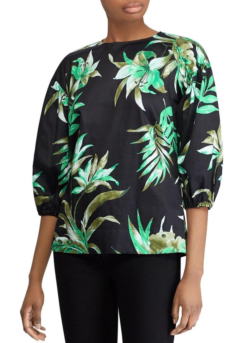Lauren Ralph Lauren Cotton Sateen Tropical-Print Puff-Sleeve Top