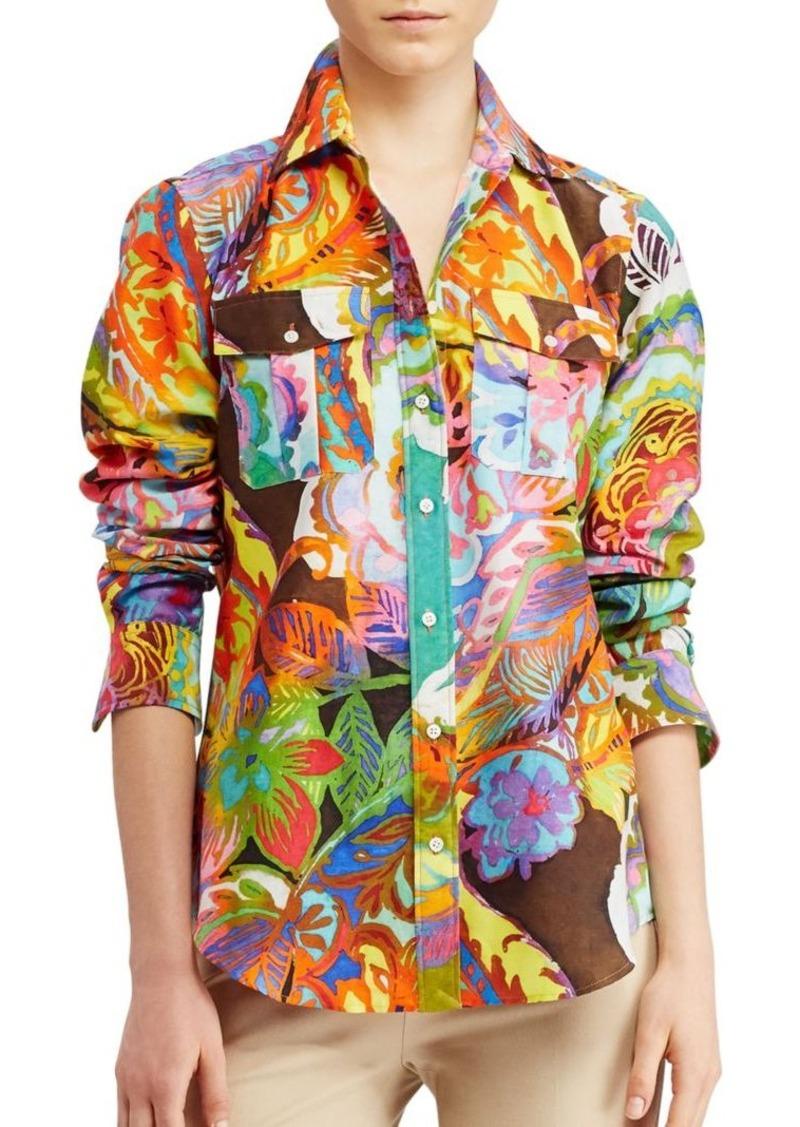 149505d0aa38b5 Ralph Lauren Lauren Ralph Lauren Cotton-Silk Voile Shirt   Casual Shirts