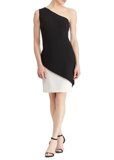 Lauren Ralph Lauren Crepe Overlay One-Shoulder Dress