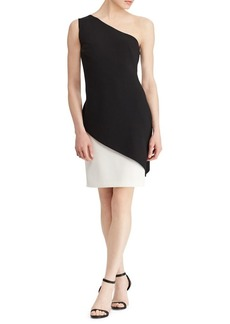 Lauren Ralph Lauren Crepe Overlay One-Shoulder Dress
