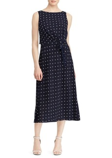 Lauren Ralph Lauren Crepe Sleeveless Midi Dress