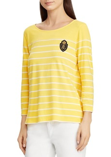 Lauren Ralph Lauren Crest Patch Stripe Top