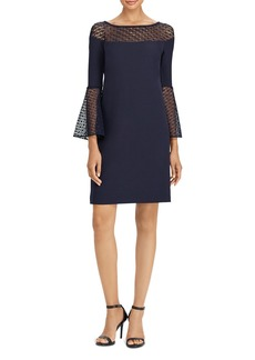 Lauren Ralph Lauren Crochet Lace-Trim Crepe Dress