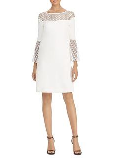 Lauren Ralph Lauren Crochet Lace-Trim Crepe Dress