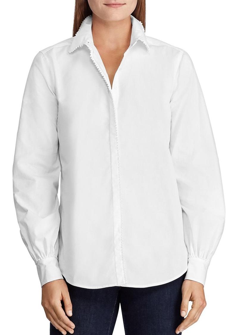 Lauren Ralph Lauren Crochet-Trimmed Button-Down Cotton Shirt