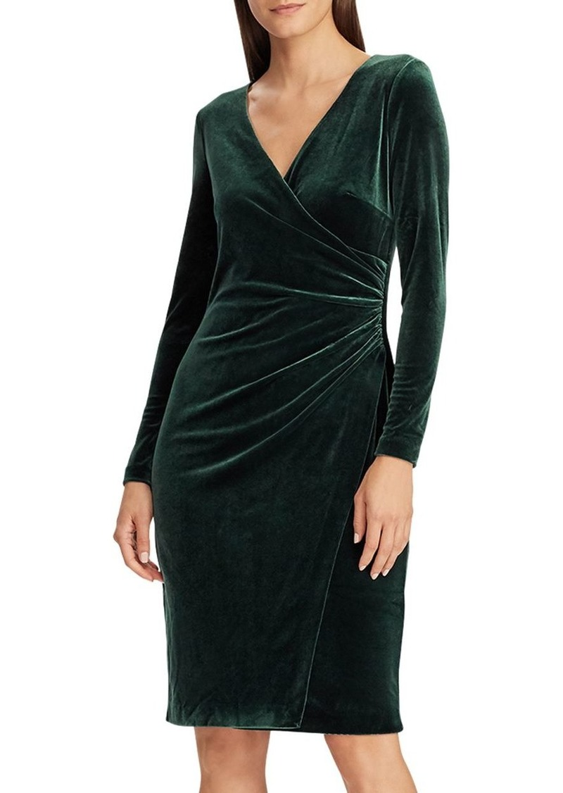 Lauren Ralph Lauren Crossover V-Neck Velvet Dress