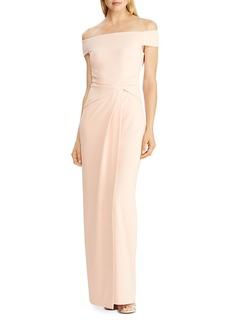 Lauren Ralph Lauren Cr�pe Fixed Twist Gown