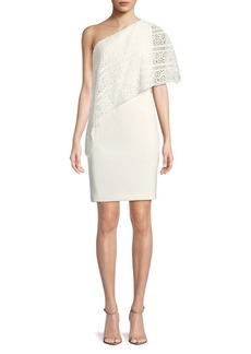 Lauren Ralph Lauren Cut-Out Overlay One-Shoulder Sheath Dress