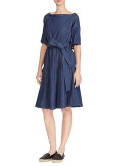Lauren Ralph Lauren Denim Fit-and-Flare Midi Dress