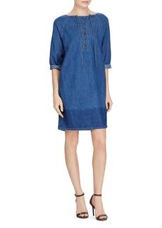 Lauren Ralph Lauren Denim Lace-Up Shift Dress