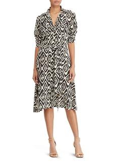 Lauren Ralph Lauren Diamond Print Crepe Shirt Dress