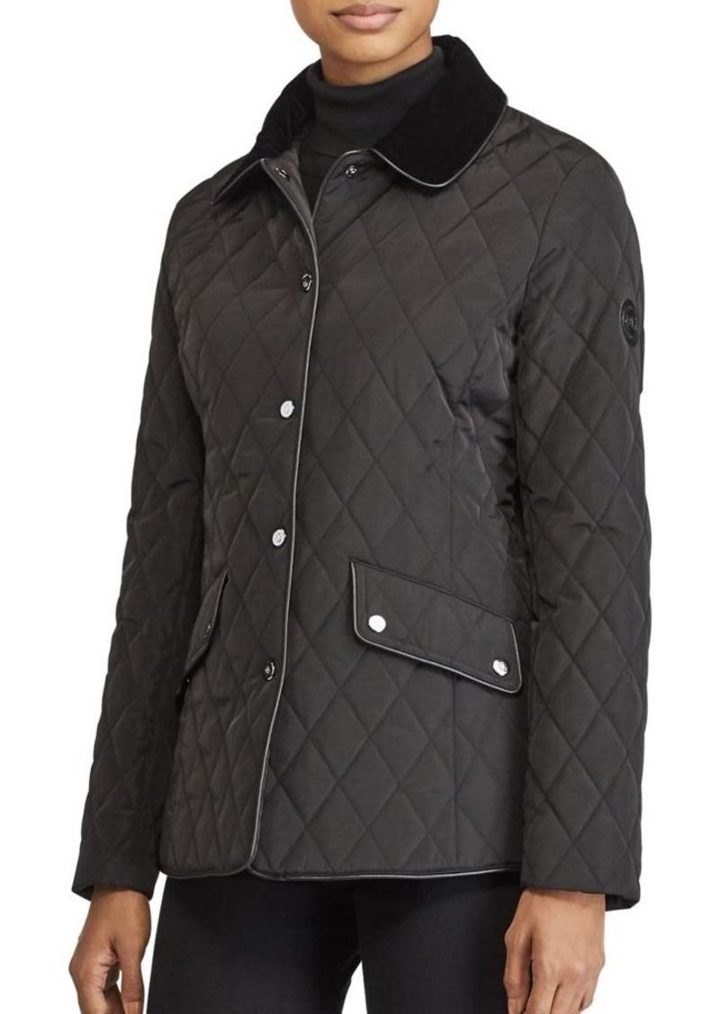 Ralph Lauren Lauren Ralph Lauren Diamond Quilted Velvet Collar Jacket