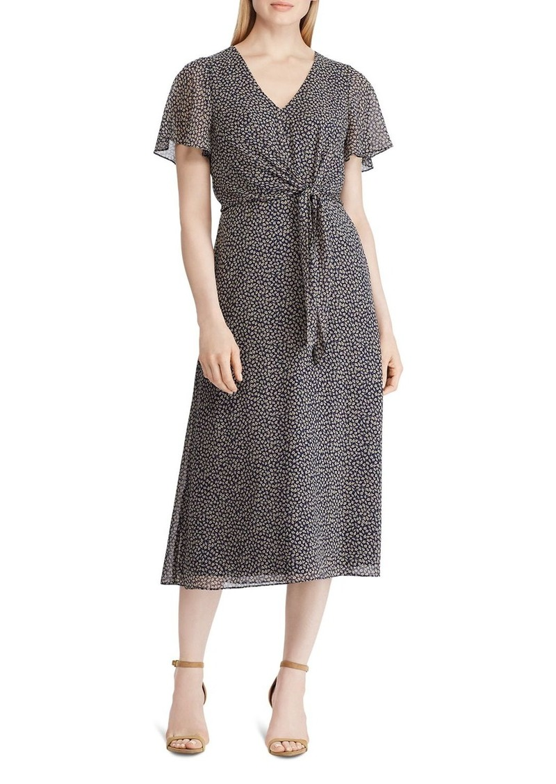 Lauren Ralph Lauren Ditsy Leaves Georgette Midi Dress