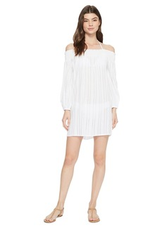 Ralph Lauren Dobby Smock Neck Off the Shoulder Tunic Cover-Up