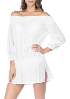 Lauren Ralph Lauren Dobby Smocked Off-The-Shoulder Cotton Coverup