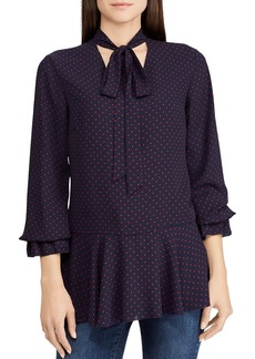 Lauren Ralph Lauren Dotted Tie-Neck Top