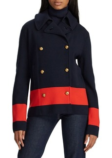 Lauren Ralph Lauren Double-Breasted Cotton-Blend Peacoat