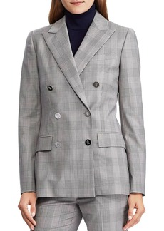 Lauren Ralph Lauren Double-Breasted Plaid Jacket