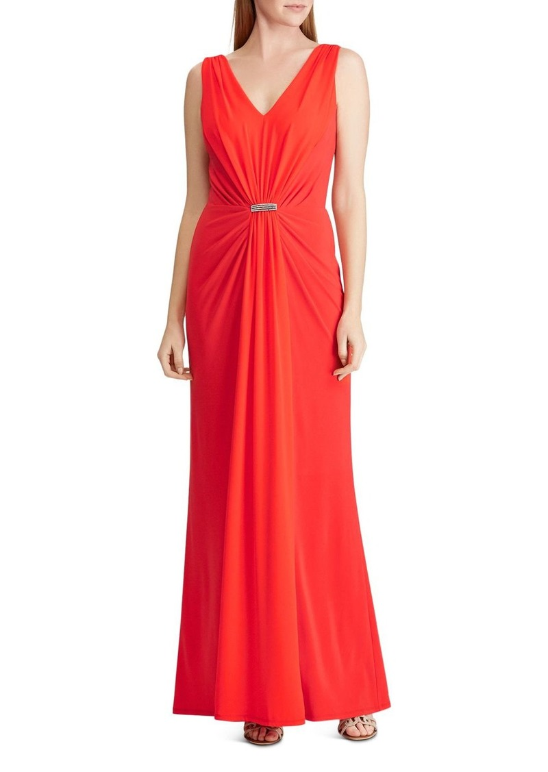 Lauren Ralph Lauren Draped Brooch-Detail Gown