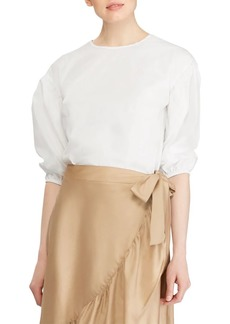 Lauren Ralph Lauren Drop-Shoulder Bishop-Sleeve Top