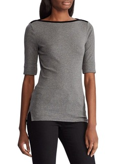 Lauren Ralph Lauren Elbow-Sleeve Boatneck Top