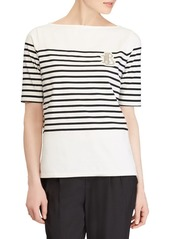 Lauren Ralph Lauren Elbow-Sleeve Striped Shirt