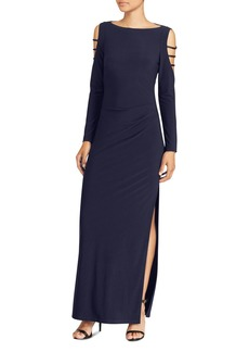 Lauren Ralph Lauren Embellished Cold-Shoulder Jersey Gown