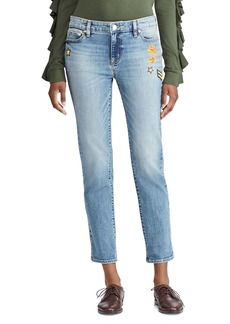 Lauren Ralph Lauren Embellished Crop Tapered Jeans in Indigo