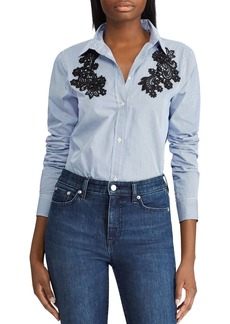 Lauren Ralph Lauren Embellished Lace Appliqu� Stripe Shirt
