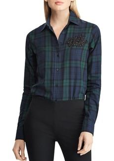 Lauren Ralph Lauren Embellished Lace Patch Plaid Shirt