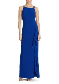 Lauren Ralph Lauren Embellished-Strap Jersey Gown
