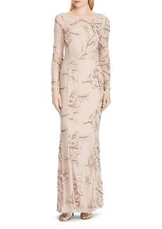 Lauren Ralph Lauren Embellished Tulle Gown