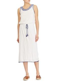 Lauren Ralph Lauren Embroidered-Collar Midi Dress